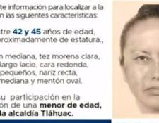 Reproducción de un cartel difundido que muestra el retrato robot de la mujer que se llevó del colegio a Fátima. (Foto Prensa Libre: Imagen tomada del Milenio).