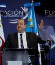 El presidente Alejandro Giammattei expuso su plan estratégico. (Foto Prensa Libre: EFE)