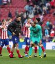 Los jugadores del Atlético de Madrid se preparan para el posible regreso. (Foto Prensa Libre: EFE)
