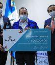 Bantrab realizó un donativo económico para la lucha contra el coronavirus. Foto Prensa Libre: Cortesía