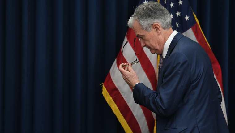 El jefe de la Reserva Federal (FED) de Estados Unidos, Jerome Powell, advirtió del comportamiento de la economía en ese país. (Foto, Prensa Libre: AFP).
