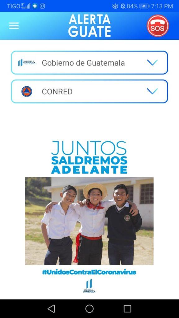 Imagen de la aplicación Alerta Guate, habilitada por el Gobierno de Guatemala.
