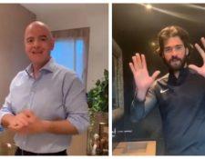 Infantino y Alisson explican cómo lavarse las manos. (Foto Prensa Libre: Instagram)