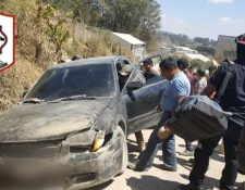 Vehículo que arrolló a cuatro estudiantes en San Juan Comalapa. (Foto Prensa Libre: Cortesía).