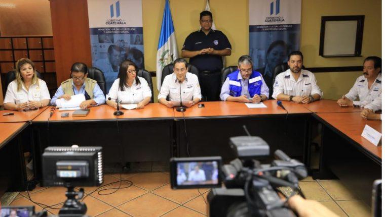Autoridades informan acerca del avance del coronavirus en Guatemala. (Foto Prensa Libre: Cortesía Presidencia).