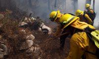 Bomberos forestales apagan un siniestro utilizando la técnica de brechas corta fuegos. (Foto Prensa Libre: Cortesía Conred)