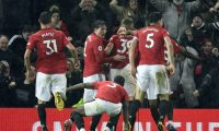 Manchester (United Kingdom), 08/03/2020.- Manchester United players celebrate the 2-0 goal during the English Premier League match between Manchester United and Manchester City held at Old Trafford in Manchester, Britain, 08 March 2020. (Reino Unido) EFE/EPA/PETER POWELL EDITORIAL USE ONLY. No use with unauthorized audio, video, data, fixture lists, club/league logos or 'live' services. Online in-match use limited to 120 images, no video emulation. No use in betting, games or single club/league/player publications