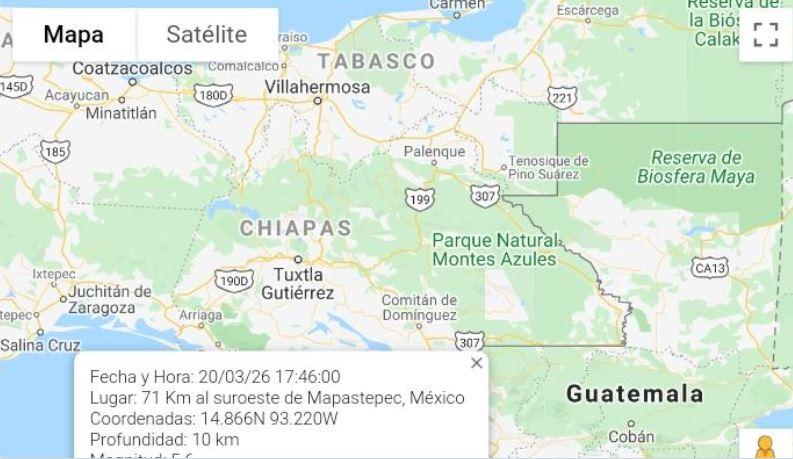 Temblor fue sensible en el occidente del país