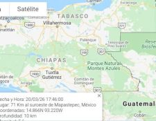 Mapa muestra el epicentro del sismo. (Imagen Conred)