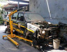 Autopatrullas de la Policía Nacional Civil en Retalhuleu no circulan por falta de mantenimiento y repuestos.  (Foto Prensa Libre: Rolando Miranda)