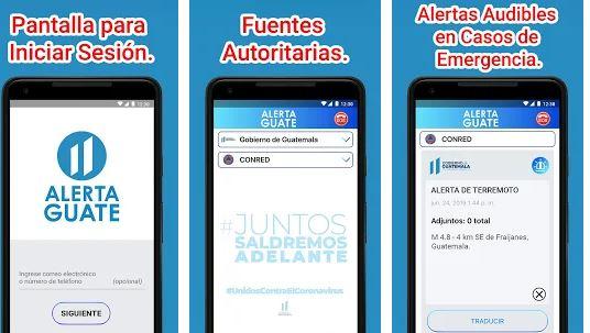 Alerta Guate integra varias funciones para enviar información importante para los usuarios. (Foto Prensa Libre: Google Play)