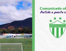 Antigua GFC jugará a puerta cerrada frente a Sanarate. (Foto Prensa Libre: Twitter Antigua GFC)