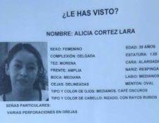 (Ficha de búsqueda de Alicia Cortez luego de su desaparición). (Foto: Fiscalía General de Ciudad de México)