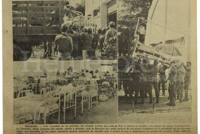 Imágenes de la portada de Prensa Libre del 9 de febrero de 1976 informando sobre el traslado de pacientes del Hospital General al Parque de la Industria, tras la emergencia del terremoto. (Foto: Hemeroteca PL)