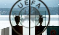 Nyon (Switzerland), 18/09/2014.- (FILE) - The UEFA Champions League trophy (L) and the Henri Delaunay trophy (R) of the UEFA EURO soccer championship on display at the UEFA headquarters in Nyon, Switzerland, 18 September 2014 (re-issued on 17 March 2020). The UEFA EURO 2020 has been postponed to 2021 amid the coronavirus COVID-19 pandemic, the Norwegian Football Association (NFF) announced on 17 March 2020. (Liga de Campeones, Suiza) EFE/EPA/JEAN-CHRISTOPHE BOTT