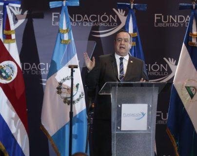 El presidente Alejandro Giammattei durante la reunión de empresarios. (Foto Prensa Libre: Esbin)
