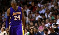 MIAMI, FL - FEBRUARY 10: Kobe Bryant #24 of the Los Angeles Lakers looks on during a game against the Miami Heat at American Airlines Arena on February 10, 2013 in Miami, Florida.   Mike Ehrmann/Getty Images/AFP== FOR NEWSPAPERS, INTERNET, TELCOS & TELEVISION USE ONLY ==