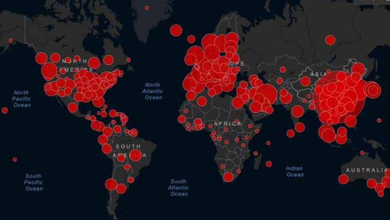 Mapa en tiempo real de casos de coronavirus detectados en el mundo.