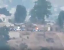 La presencia de la Policía Nacional Civil en la zona de conflicto no calmó los ánimos de los pobladores. (Foto Prensa Libre: Tomada de Facebook)