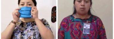 Mujeres graban en kaqchikel, tz'utujil y k'iche' información sobre covid-19. (Foto Prensa LIbre: Cortesía)