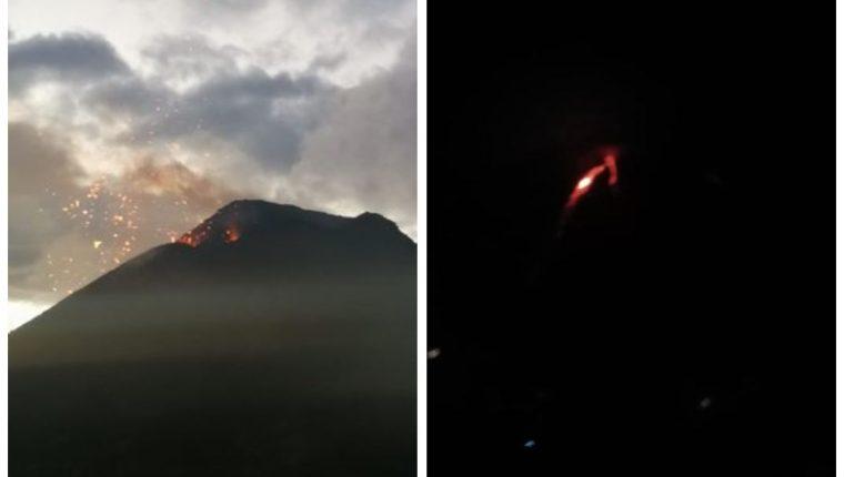 Imágenes del Volcán de Fuego tomadas desde el observatorio vulcanológico ubicado en aldea Panimaché. (Foto Prensa Libre: Insivumeh)