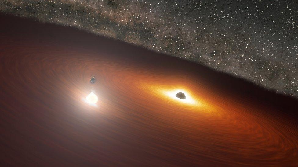 """Einstein y Hawking: el """"baile"""" de 2 gigantescos agujeros negros que prueba teorías clave de los científicos"""
