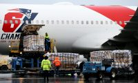 BOSTON, MASSACHUSETTS - APRIL 02: The New England Patriots plane delivers N95 masks from Shenzhen, China to Logan International Airport to slow the spread of the coronavirus (COVID-19) outbreak on April 02, 2020 in Boston, Massachusetts. New England Patriots owner Robert Kraft and his son Patriots President Jonathan Kraft partnered with Massachusetts Governor Charlie Baker to ship the masks which will be split between Massachusetts and New York.   Maddie Meyer/Getty Images/AFP == FOR NEWSPAPERS, INTERNET, TELCOS & TELEVISION USE ONLY ==