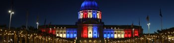 SAN FRANCISCO, CALIFORNIA - APRIL 02: San Francisco City Hall is lit up red, white and blue on April 02, 2020 in San Francisco, California. Officials in seven San Francisco Bay Area counties have extend the shelter in place order until May 1 due to coronavirus concerns.   Justin Sullivan/Getty Images/AFP == FOR NEWSPAPERS, INTERNET, TELCOS & TELEVISION USE ONLY ==