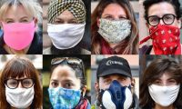 Genoa (Italy), 16/04/2020.- A combo picture shows citizens of Genoa wearing different types of protective masks during the coronavirus pandemic in Genoa, Italy, 16 April 2020. Countries around the world are taking measures to stem the widespread of the SARS-CoV-2 coronavirus which causes the Covid-19 disease. (Italia, Génova) EFE/EPA/LUCA ZENNARO