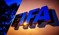 (FILES) In this file photo taken on June 2, 2015, the FIFA logo is pictured at the FIFA headquarters  in Zurich. - FIFA on April 6, 2020, urged clubs and players to reach agreement on wage reductions to protect clubs suffering financial damage due to the coronavirus crisis, sources said. (Photo by MICHAEL BUHOLZER / AFP)