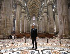El concierto de Andrea Bocelli en Milán.  (Foto Prensa Libre: EFE/EPA/LUCA ROSSETTI / COURTESY SUGAR PRESS).