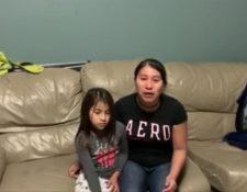 Angelina y su hija grabaron un video en el que piden la liberación de su hijo. (Foto Prensa Libre)