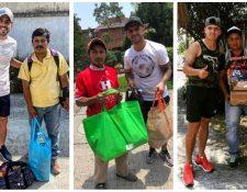 Rodrigo Saravia, José Contreras y Luis de León, ayudan a los guatemaltecos en este momento complicado. (Foto Prensa Libre: Redes)