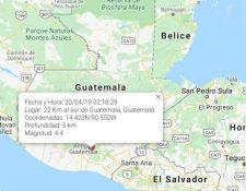 Mapa muestra el epicentro de uno de los sismos de este domingo 19 de abril. (Foto Prensa Libre: Conred).