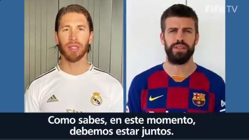 Ramos y Piqué dejan a un lado la rivalidad y se unen en campaña de la ONU contra el coronavirus
