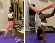 La gimnasta estadounidense Simone Biles cumple con un 'challenge' viral. (Foto Prensa Libre: Instagram)