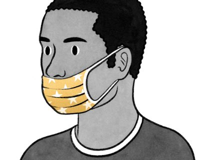 Llevar una máscara facial lleva un tiempo acostumbrarse. (Ilustración: Eleni Kalorkoti / The New York Times)