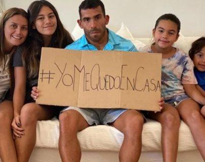 Carlos Tevez junto a su familia, en cuarentena. (Foto Prensa Libre: Clarín)