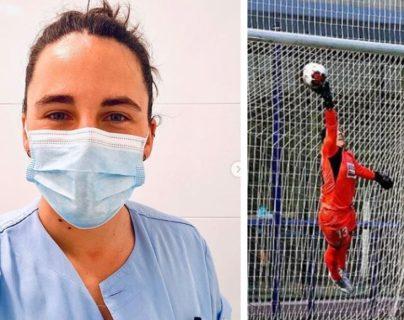 Oihana Aldai, portera española que trabaja como enfermera, para combatir el coronavirus. (Foto Prensa Libre: Instagram @oihanaaldai)
