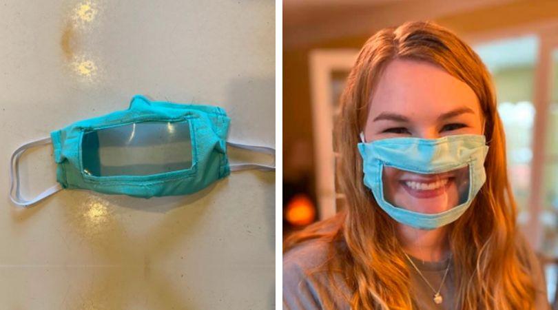 En medio de la emergencia del coronavirus, estudiante crea mascarillas para personas sordas