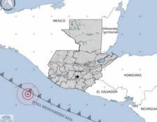 Ubicación del epicentro del temblor, reportado por el Insivumeh.