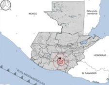 Ubicación del epicentro del temblor en Guatemala del 19 de abril, según Insivumeh.