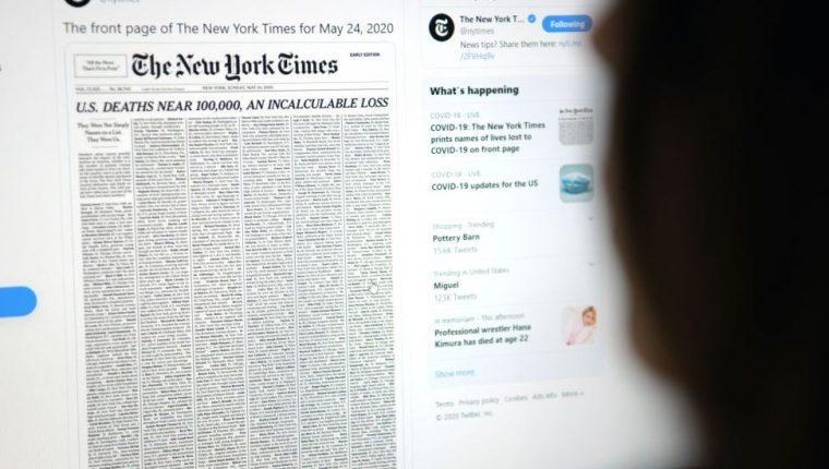 he New York Times le rindió un sencillo pero poderoso homenaje a las víctimas de covid-19 en EE.UU.