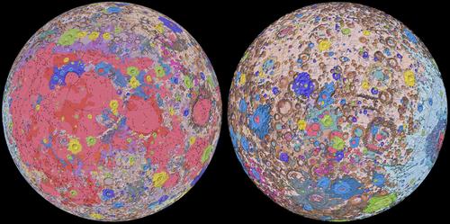 El mapa muestra en detalle las características geológicas de ambas caras de la Luna. USGS