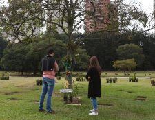 Aficionados visitan este viernes la tumba de Ayrton Senna en el cementerio de Morumbí, en Sao Paulo. (Foto Prensa Libre: EFE)