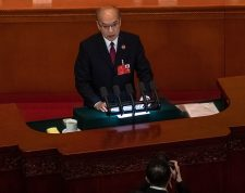 Beijing (China), 25/05/2020.- Zhang Jun, Supreme People'Äôs Procuratorate President delivers a speech during the second plenary session of China's National People's Congress (NPC) at the Great Hall of the People in Beijing, China, 25 May 2020. The NPC runs alongside the annual plenary meetings of the Chinese People's Political Consultative Conference (CPPCC), together known as 'Lianghui' or 'Two Meetings'. This year the two major political meetings initially planned to be held in March were postponed amid the ongoing coronavirus COVID-19 pandemic. EFE/EPA/ROMAN PILIPEY / POOL