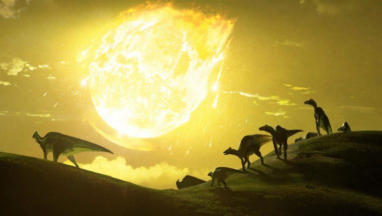"""Imagen que representa el momento de impacto del asteroide que terminó con los dinosaurios hace aproximadamente 66 millones de años. El impacto del asteroide que formó el cráter de Chicxulub, en México, relacionado con la extinción de los dinosaurios, tuvo la inclinación """"más letal"""" posible, con un ángulo de entre 45 y 60 grados sobre el suelo, según un estudio publicado en la revista Nature Communications. (Foto Prensa Libre: EFE)"""