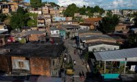 Aerial view of Sao Francisco neighbourhood where Maria Moitinho Nunes Sinimbu, 76, mother of twelve, lives in Manaus, Amazonas State, Brazil, taken on May 16, 2020 day in which she offered an interview to AFP to talk about her three children who died of the novel coronavirus COVID-19, two confirmed and one suspected, in less than a month. - Maria lost two sons and a daughter, and a sister and a brother-in-law, to the novel coronavirus it is believed. All in less than a month. Most of the family, including herself, showed symptoms of COVID-19 but due to the shortage of tests, they will never know for sure if they had the disease. (Photo by MICHAEL DANTAS / AFP)