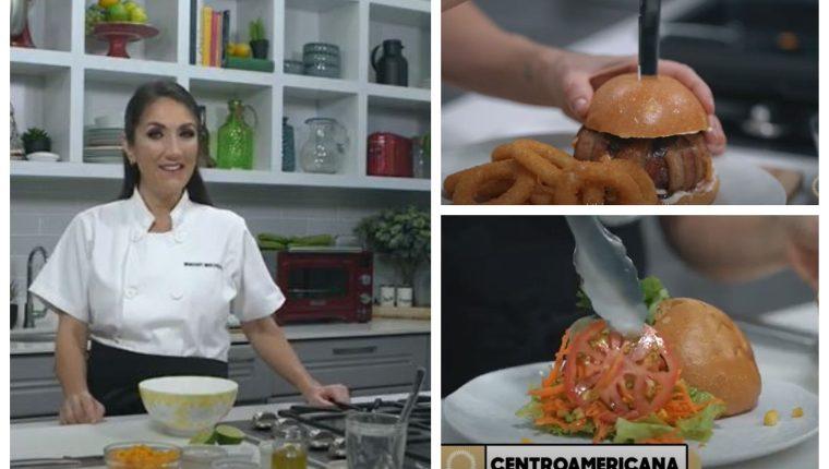 Mirciny Moliviatis prepara hamburguesas con los sabores de Concaaf. (Foto Prensa Libre: Captura YouTube Concacaf)