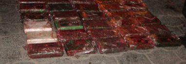 Al menos 30 paquetes de cocaína estaban escondidos en un vehículo interceptado en Alta Verapaz. (Foto Prensa Libre: MP)